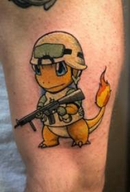 小恐龍紋身  男生手臂上彩繪的小恐龍紋身圖片