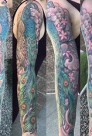 孔雀毛紋身  男生手臂上彩繪的孔雀毛紋身圖片