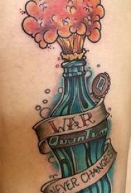 可口可乐纹身瓶 女生大腿上英文和汽水纹身图片