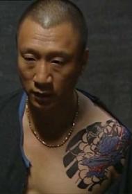 孙红雷纹身图案  平安彩票导航网肩部彩绘的龙纹身图片