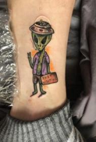 骷髅和人物纹身图案  男生脚踝上骷髅和人物纹身图片
