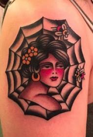 蜘蛛网纹身图案  女生手臂上人物和蜘蛛网纹身图片