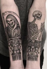 死神紋身  男生小臂上死神和骷髏紋身圖片