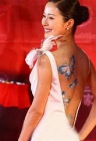 中国纹身平安彩票导航网  平安彩票导航网后背上唯美的蝴蝶纹身图片