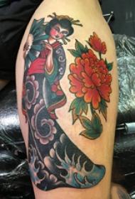 大腿紋身男 男生大腿上牡丹和藝妓紋身圖片
