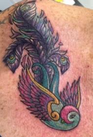 大腿紋身男 男生大腿上鳥和羽毛紋身圖片