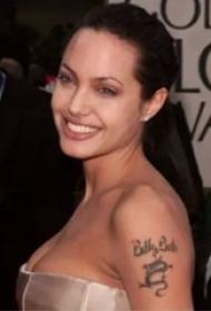 美国纹身平安彩票导航网  安吉丽娜朱莉手臂上龙和英文纹身图片