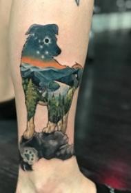 风景纹身  女生腿上狗和风景纹身图片