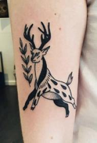 手臂纹身素材 女生手臂上植物和鹿纹身图片