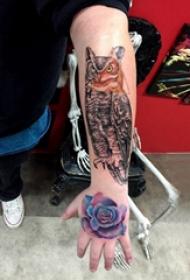 纹身猫头鹰  男生手臂上猫头鹰和玫瑰花纹身图片