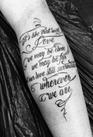 欧美小腿纹身 男生小腿上黑色的花体英文纹身图片