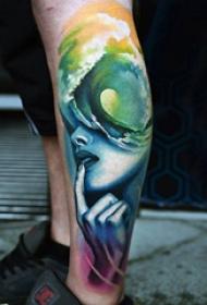 欧美小腿纹身 男生小腿上彩色的女生人物纹身图片