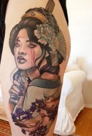 日本藝妓紋身圖片 女生大腿上鳥和藝妓紋身