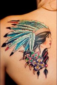 一組個性十足的印第安人紋身圖案