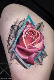 国外大师一组9张粉红玫瑰花纹身图案作品图片