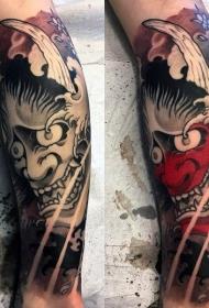 日本鬼面具纹身  凶神恶煞的日本鬼面具纹身图案