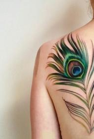 3d羽毛紋身 輕柔的彩色創意羽毛紋身圖案