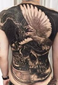 一組男性霸氣滿背紋身刺青圖案圖片