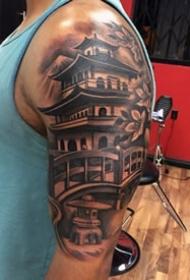 古塔建筑纹身_一组9张关于古塔建筑的纹身图案图片