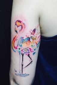 火烈鸟纹身图_14张粉红色的火烈鸟纹身图案作品图片