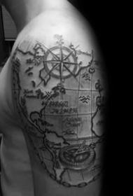 坐标经纬度纹身图案_10张黑灰地理经纬度坐标纹身图案图片
