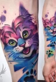 潮流紋身-色彩可愛的小貓小狗手臂紋身圖片