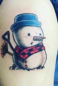 彩绘纹身图案-彩绘水彩素描的创意有趣精致雪人纹身图案