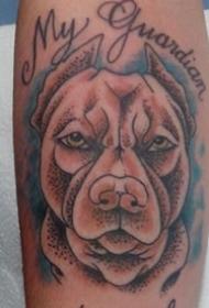 狗狗纹身图案-创意精致的俏皮可爱的斗牛犬狗狗纹身图案+++狗,俏皮