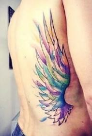 翅膀纹身图--8张水彩色漂亮的翅膀纹身图案