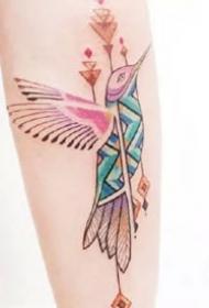 蜂鸟纹身图案-9张彩色的蜂鸟纹身图片