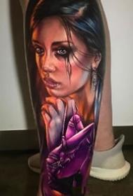 4张逼真的欧美女性人像写实纹身图案作品