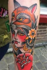 欧美school女郎肖像彩色纹身图案作品9张