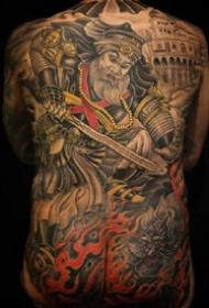 传统风格的一组男士大满背纹身图案