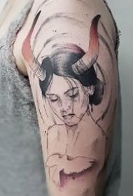 十二星座之金牛座的几张纹身图案作品和手稿欣赏