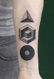 几张不错的抽象风格的几何点刺纹身图案