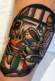 创意骷髅纹身--国外纹身艺术家Sam Kane的彩色骷髅创意纹身图案