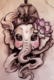 象神纹身图--6张很不错的象财神纹身图案作品