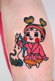 很可爱的卡通小女孩萌萌哒纹身图案9张