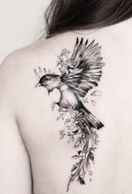 飞鸟燕子--一组很灵动的飞鸟燕子纹身图案欣赏