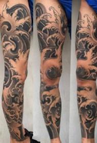 传统风格的一组男性花臂和花腿纹身图案欣赏
