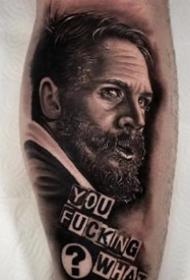 欧美写实风格的一组逼真3d人像写实纹身作品图案