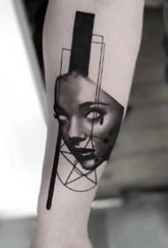 几何图形里的黑灰欧美写实纹身图案欣赏
