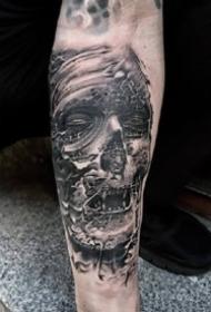 西班牙写实纹身师Robert Hernandez的骷髅纹身作品图案