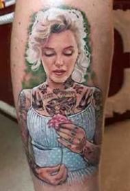 欧美人像的写实风格肖像纹身图案9张