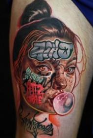 另类风格的彩色写实女性人像纹身图案作品