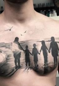 幾張男性的黑色大花胸紋身作品圖片