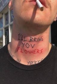 頸部脖子上的個性簡約英文字母紋身圖案