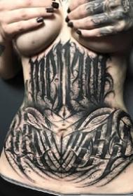 几张深黑色的奇卡诺花体字创意设计纹身图案