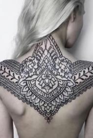 黑色的一组梵花图腾纹身图案作品9张