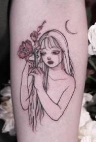 手臂上的小姑娘:国外纹身师的小女孩纹身作品图案